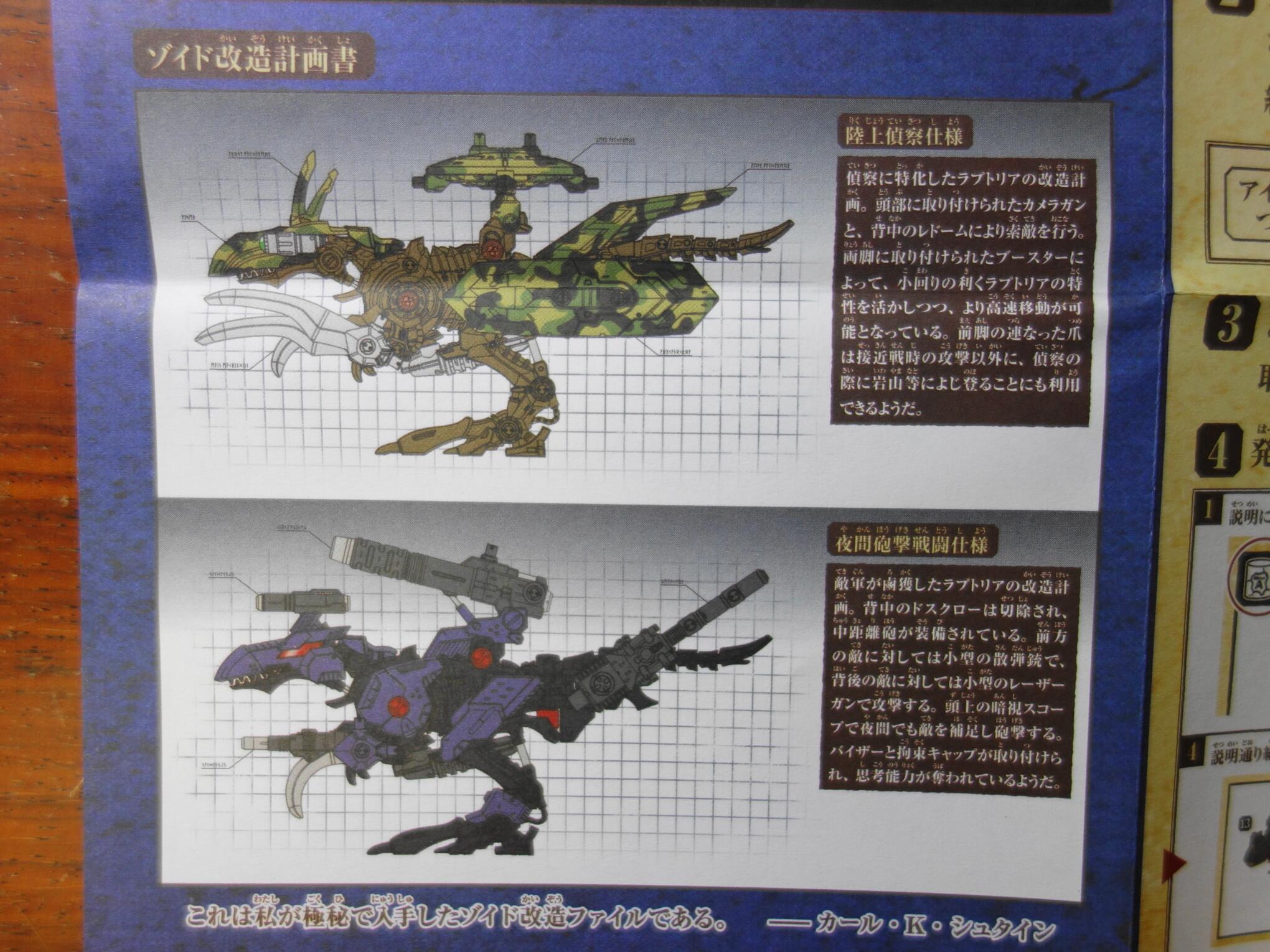 ラプトリアの武装パターン例